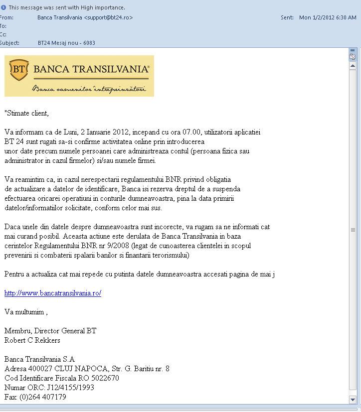 phising banca transilvania